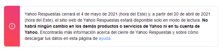 Yahoo!  Answers will stop working on May 4