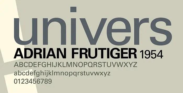 Univers Font Family