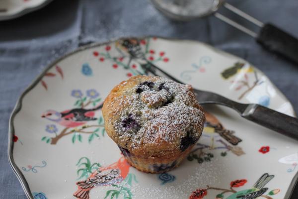 Lemon Blueberry Muffins on plate   HipFoodieMom.com