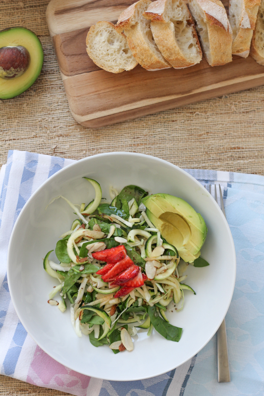 Apple Spinach Zucchini Salad_vert_with bread | HipFoodieMom.com