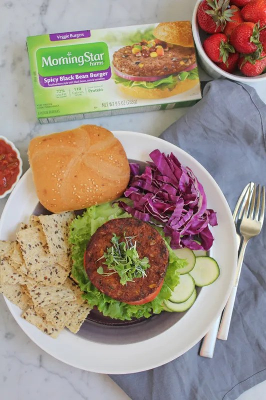 MorningStar Farms Spicy Black Bean Burger on plate by Hip Foodie Mom