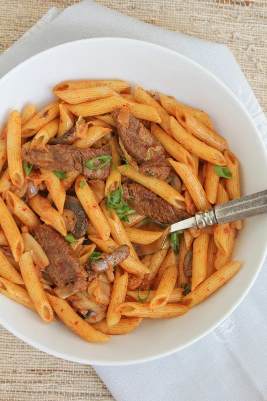 Spicy Korean Penne Pasta with Beef #koreanfood #kimchi #penne #pasta