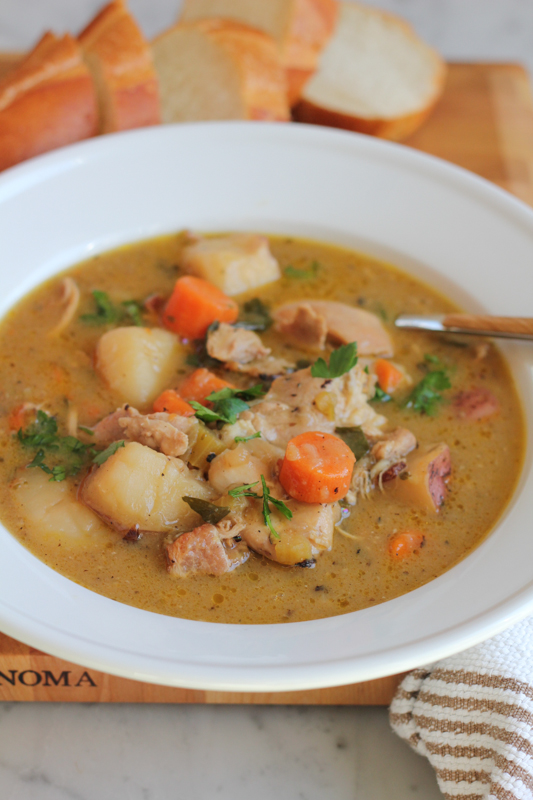 bowl of hearty chicken stew, made with America's Test Kitchen recipe