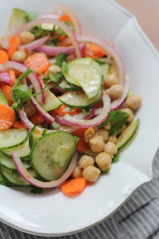 Light, easy to prepare and filled with the flavors of Morocco! You've got to try this Moroccan Chickpea and Carrot Salad.