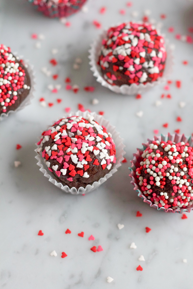 Valentine's Day Truffles! You won't believe what's packed into these delicious bite sized truffles! So good and so healthy, you can eat as many as you want! Happy Valentine's Day!
