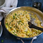 Four Cheese Risotto with delicious in-season zucchini and summer squash! Have this amazing one-pot dinner on the table in under 25 minutes!