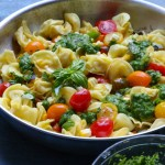 Summer Tortellini Pasta Salad + A Giveaway!! Pan fried five cheese tortellini cooked with cherry tomatoes, corn and a spinach pesto! So good! Plus, enter for a chance to win aDemeyere Industry5 Skillet!