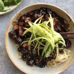 Jajangmyeon (Korean black bean noodles) in a bowl