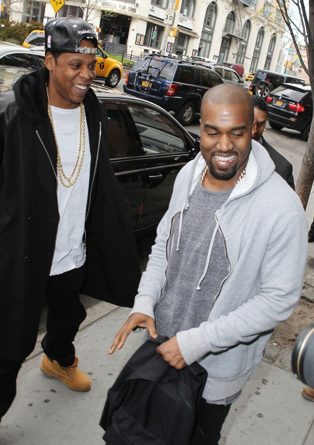 Kanye West meets Jay Z after wrapping up his shopping date with Kim Kardashian in New York