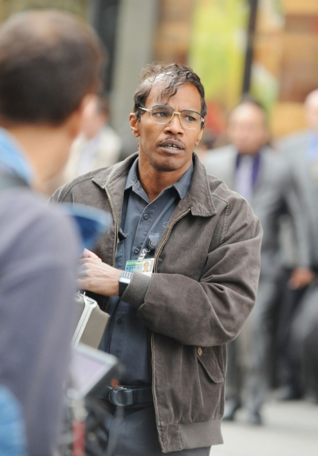 Actor Jamie Foxx films scenes on the set of his upcoming film 'The Amazing Spider-Man 2' in New York City