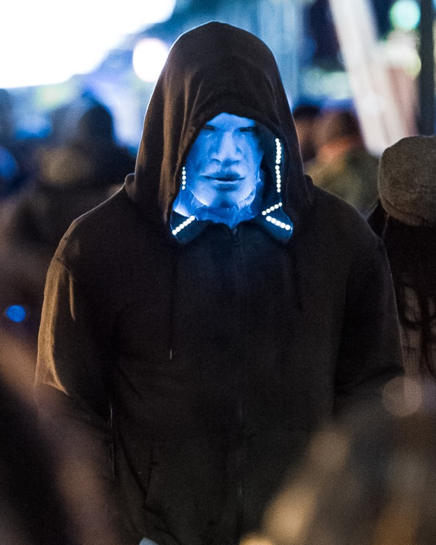 Jamie Foxx is seen in spooky costume on the set of 'The Amazing Spider-Man 2' in New York City