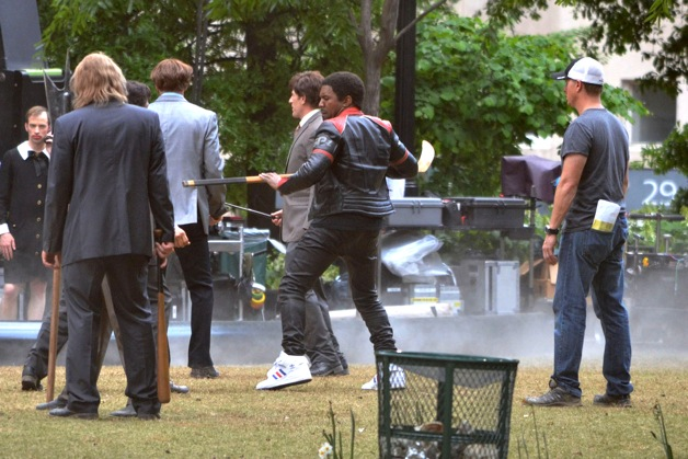 **EXCLUSIVE** Kanye West hits the battle field with hockey stick in hand to film a cameo in 'Anchorman: The Legend Continues' in Atlanta