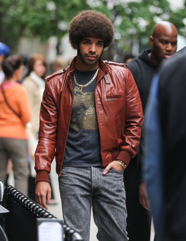 Drake gets into character to film scenes for 'Anchorman: The Legend Continues' in New York City