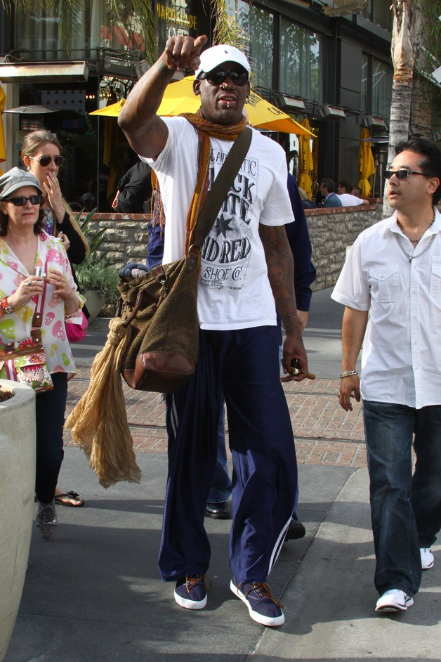 Dennis Rodman is seen leaving 'The Grove' in Los Angeles Thursday afternoon
