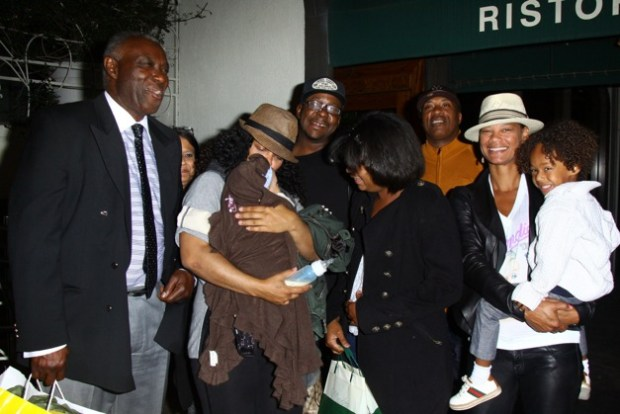 Bobby Brown is seen with his family for dinner at Madeo Restaurant in West Hollywood