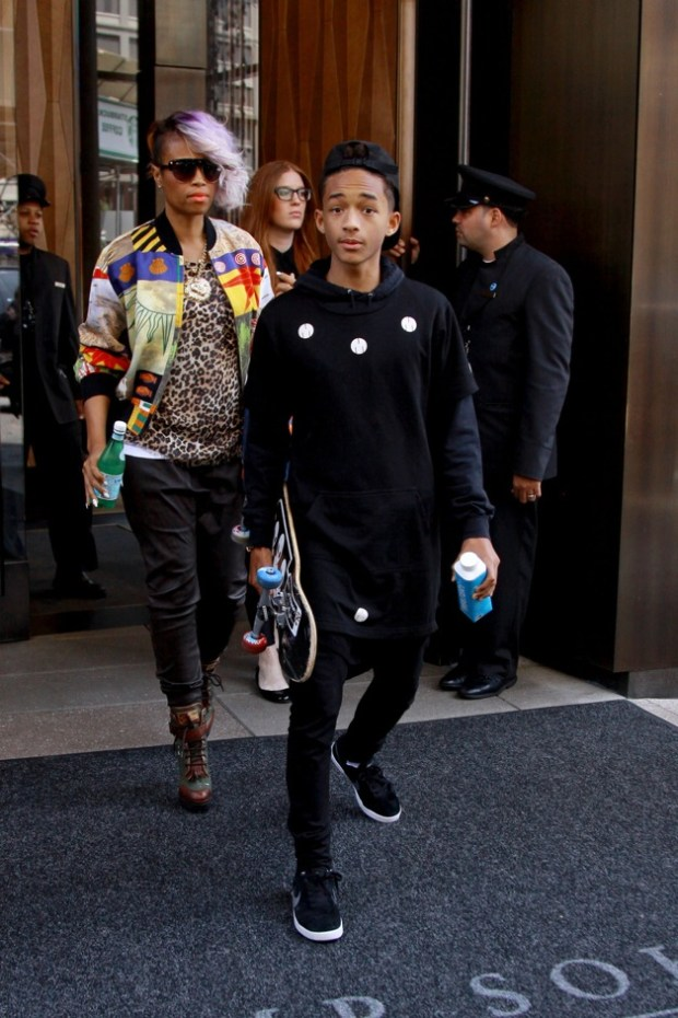 Jaden Smith leaves his hotel with a skateboard and a female friend in New York City