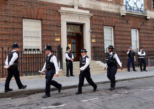 Police seen outside the Lindo Wing of St.Mary's hospital after the Duchess of Cambridge arrived going into a labour in London