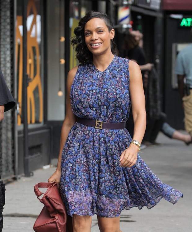 Chris Rock and Rosario Dawson seen filming for unnamed movie in West Village, New York City