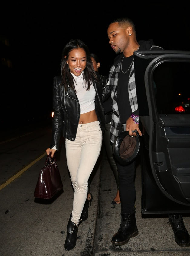 Karrueche Tran seen leaving Hooray Henry's after having a night out with friends in Los Angeles