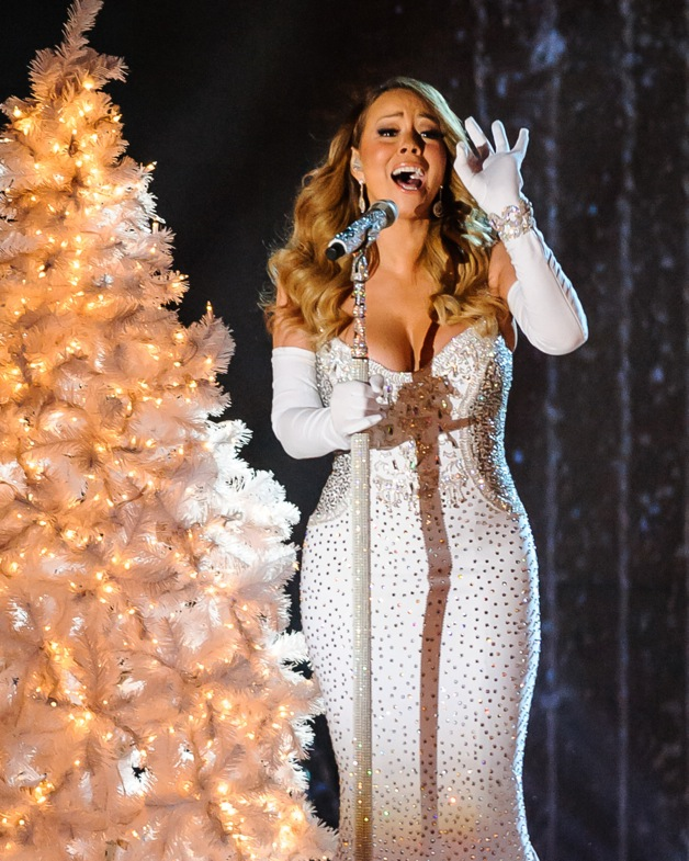 Mariah Carey pre tapes her performance for the Rockefeller Center Christmas Tree Lighting ceremony in New York