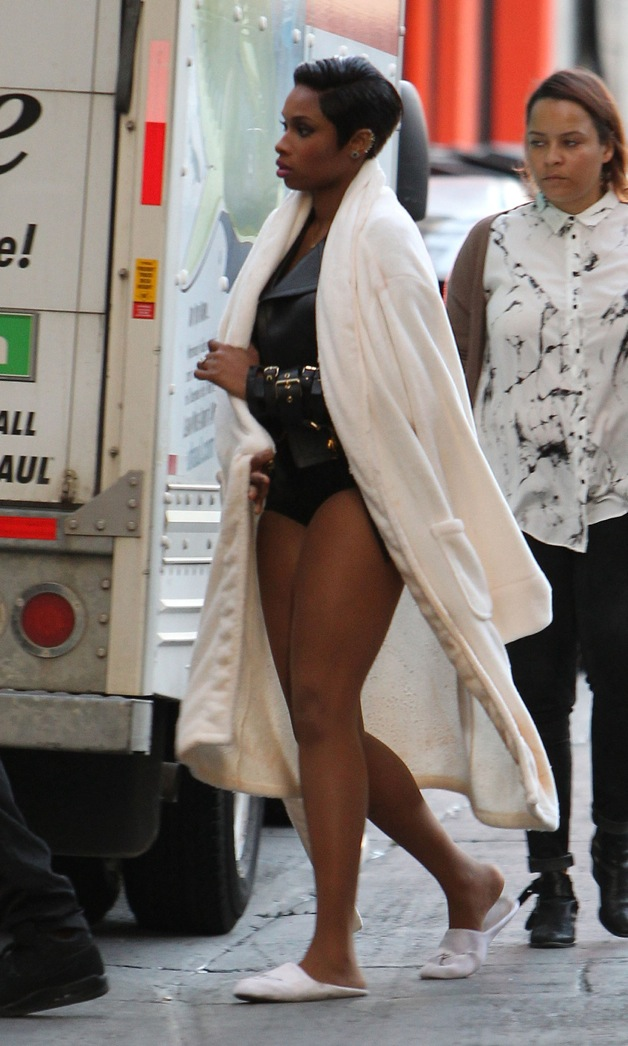 Jennifer Hudson filming a music video in Los Angeles
