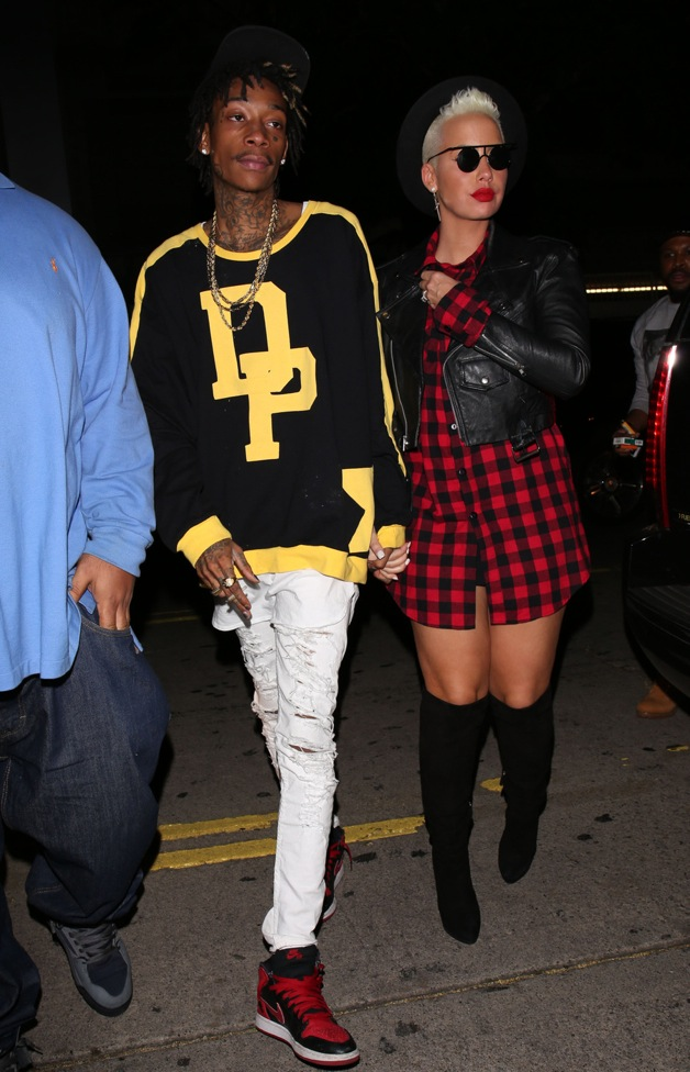 Rapper Wiz Khalifa and wife Amber Rose arrive at LURE Nightclub for Jay-Z's after party in Los Angeles