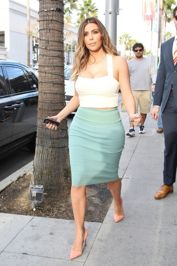 Kim Kardashian and her friend Laura Arrillaga-Andreessen leave after shopping at Barneys New York in Los Angeles