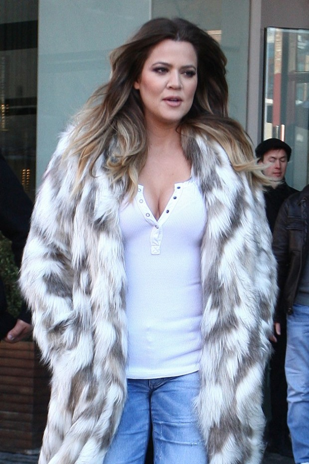 Kim Kardashian and her sisters, Kourtney and Khloe Kardashian leave their hotel and head to their store Dash in New York City