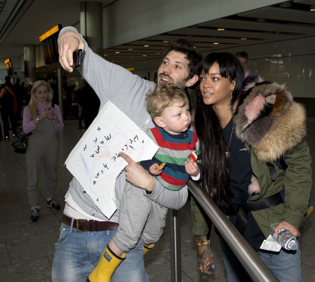 Rihanna seen arriving from U.S at Heathrow Airport