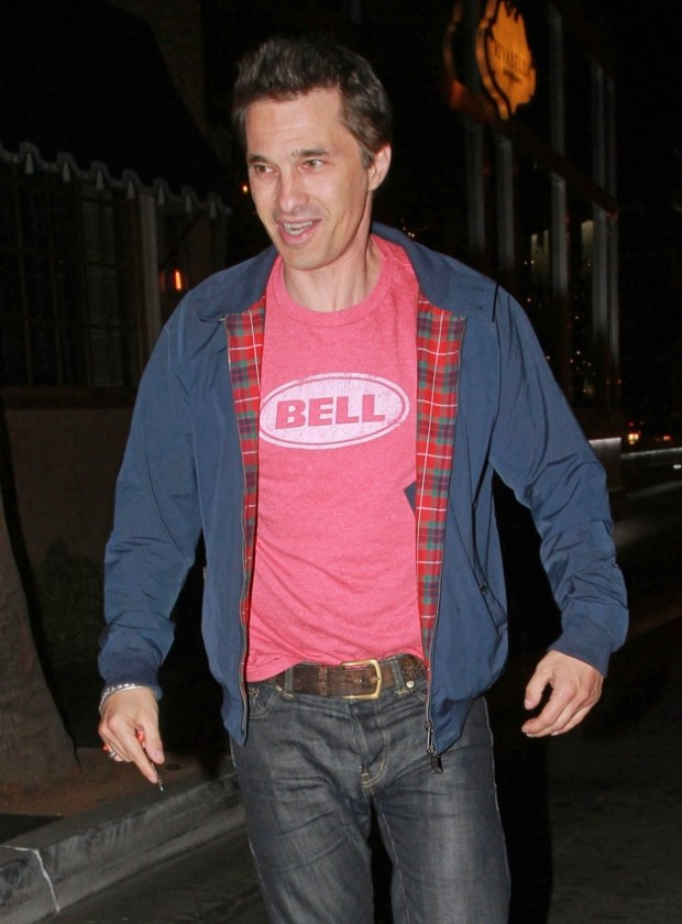 Actor Olivier Martinez seen after having dinner with a male friend at the trendy 'Riva Bella' restaurant in Los Angeles