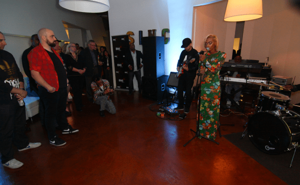 Pictured at peermusic's Burbank office - 1500 or nothin's new artist Rebekah Muhammad performance.