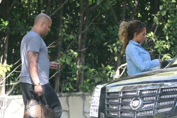 EXCLUSIVE: Melanie Brown adjusts her undergarments after changing in the car on the way to a photo shoot in Beverly Hills