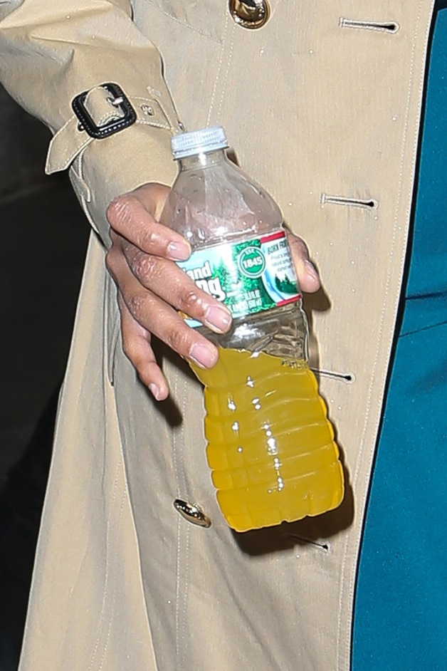 Zoe Saldana seen smiling as she holds an energy drink while leaving the Today Show in New York City