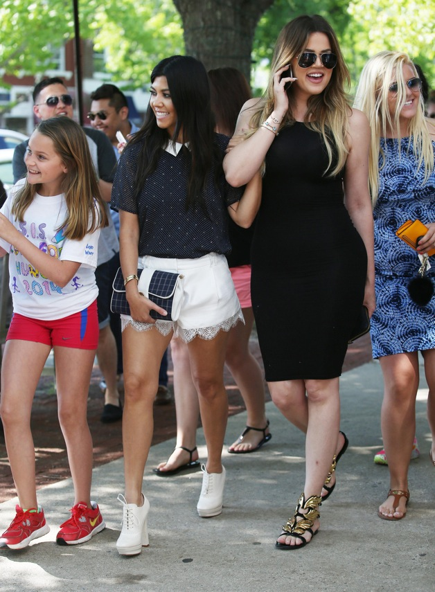 Khloe and Kourtney Kardashian do some shopping at Intermix before heading to the Southampton Town Hall