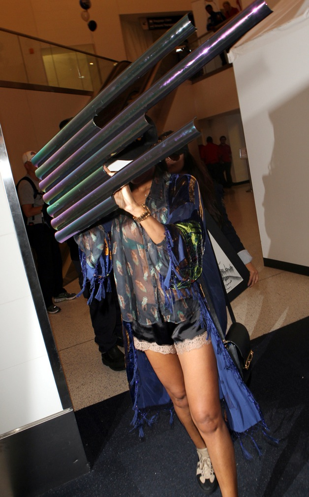 V. Stiviano seen at LAX airport with a set of pipes blocking her face in Los Angeles