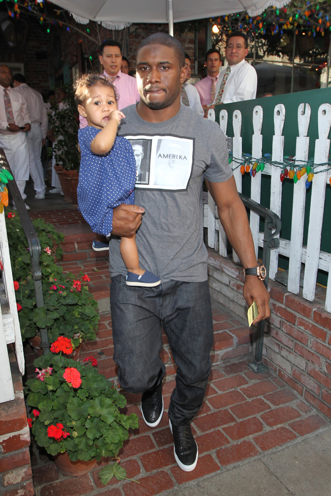 Reggie Bush steps out with his daughter Briseis and fiancee Lilit Avagyan for lunch in Los Angeles