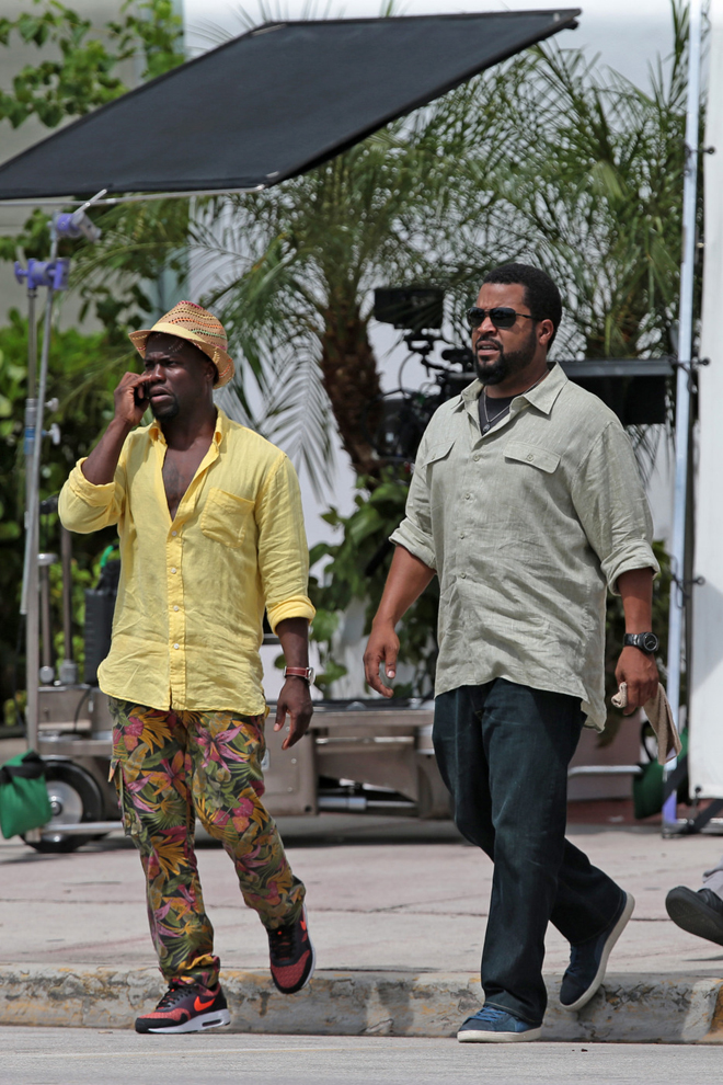 Kevin Hart and Ice Cube get to work on the first day of filming 'Ride Along 2' in Miami