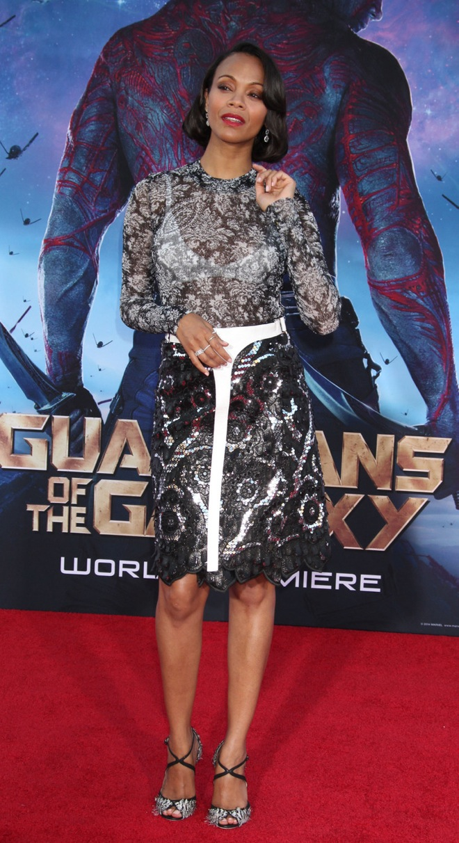 Zoe Saldana at Marvel's premiere for Guardians Of The Galaxy at the Dolby Theatre on July 21, 2014 in Hollywood, California.