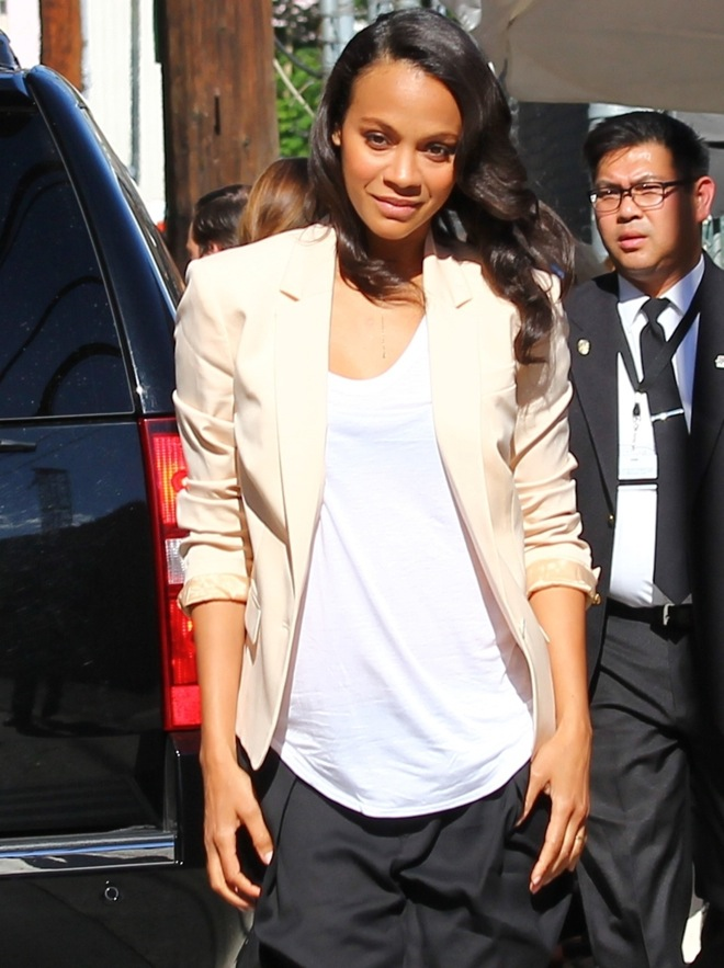 Zoe Saldana arrives to the Jimmy Kimmel studio for an appearance on Jimmy Kimmel Live! show in Hollywood