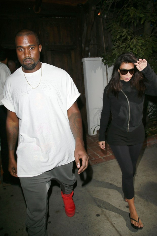Kim Kardashian and Kanye West seen leaving The Little Door restaurant in Los Angeles