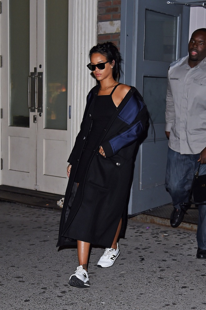 Rihanna stops by an office building in SoHo, New York City