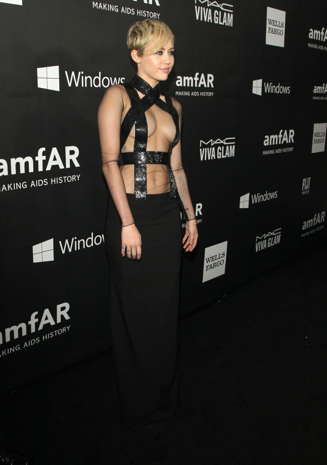 Miley Cyrus attends The amFAR LA Inspiration Gala in Los Angeles