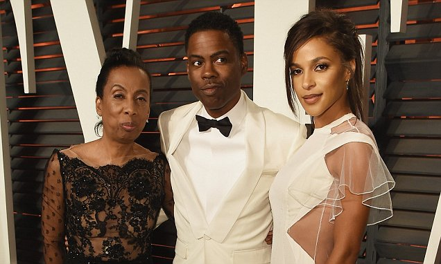 BEVERLY HILLS, CA - FEBRUARY 28: (L-R) Rosalie Rock, Oscar telecast host Chris Rock and actress Megalyn Echikunwoke attend the 2016 Vanity Fair Oscar Party Hosted By Graydon Carter at the Wallis Annenberg Center for the Performing Arts on February 28, 2016 in Beverly Hills, California. (Photo by Larry Busacca/VF16/Getty Images for VF)