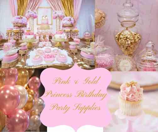Pink Gold Princess Birthday Party Supplies