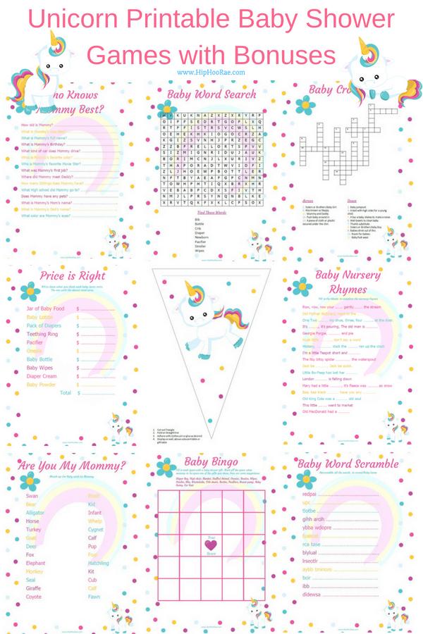 Unicorn Baby Shower Printable Games