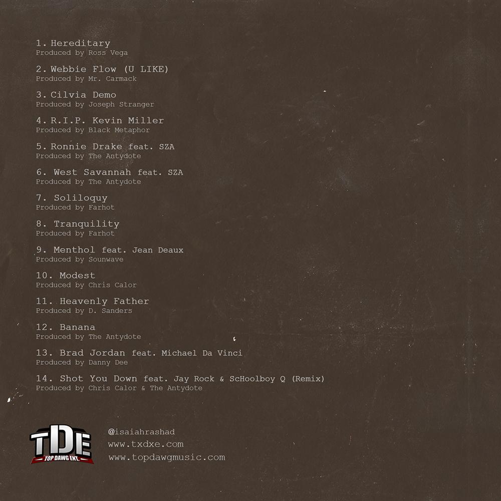 Isaiah Rashad  Cilvia Demo Artwork  Track List  HipHopNMore