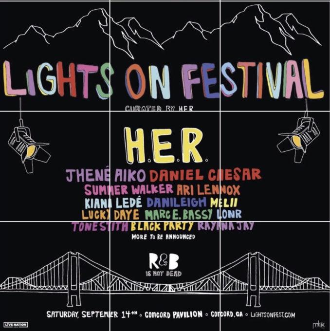 H.E.R. Announces 'Lights On' Festival Feat. Jhene Aiko, Daniel Caesar, Ari Lennox & More-