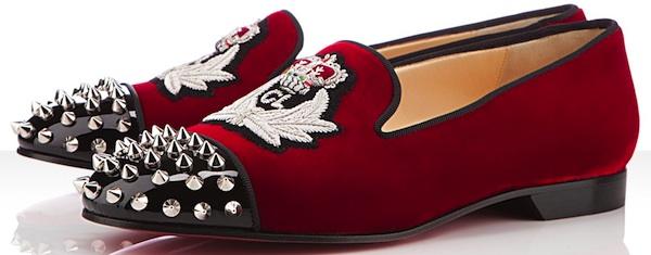 Christian-Louboutin-Intern-Flat-Red-Velvet-Patent-leather-Studded ... 4d18dbe9bac8