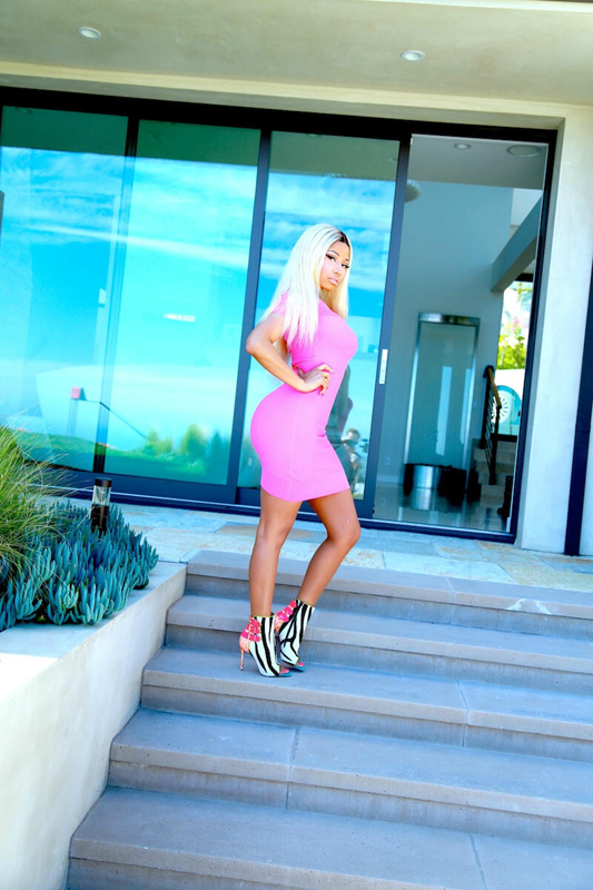 Splurge-Nicki-Minajs-Twitter-American-Idol-McQ-Alexander-McQueen-Pink-Mesh-Fitted-Dress-and-Christian-Louboutin-Booties