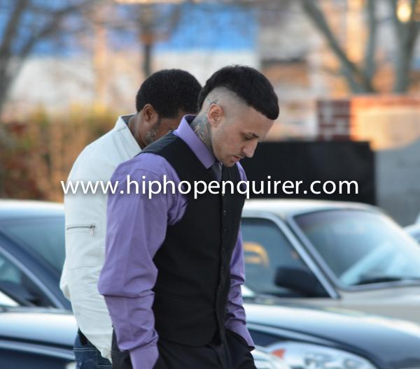 Label mate rapper Suga Shane arrives at Willie Watkins Funeral home